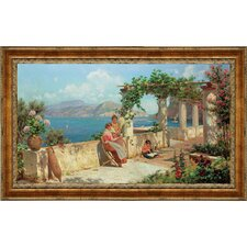 Figures on a Terrace in Capri by Robert Alott Framed Painting Print