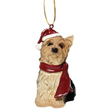 Yorkie Holiday Dog Ornament Sculpture