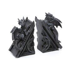 Gothic Castle Dragons Sculptural Book Ends (Set of 2)
