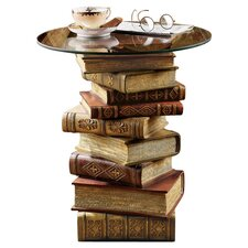 Power Of Books Sculptural Glass Topped End Table