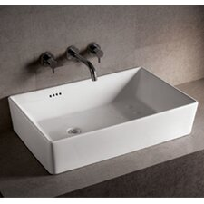 <strong>Whitehaus Collection</strong> Isabella Rectangular Bathroom Sink with Overflow and Offset Center Drain