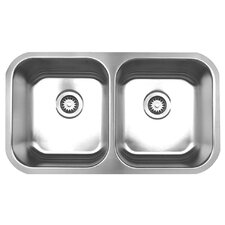 "<strong>Whitehaus Collection</strong> Noah 31.32"" x 18"" Double Bowl Undermount Kitchen Sink"