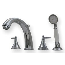 Blairhaus Double Handle Deck Mount Roman Tub Faucet with Beveled Escutcheons