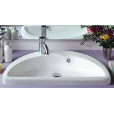 <strong>Whitehaus Collection</strong> China Mezza Luna Half Circle Bathroom Sink with Overflow