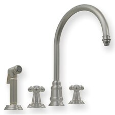 <strong>Whitehaus Collection</strong> Evolution Double Cross Handle Widespread Kitchen Faucet with Side Spray