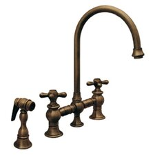 Vintage III Two Handle Widespread Bridge Faucet with Gooseneck Swivel Spout, Cross Handles and Side Spray
