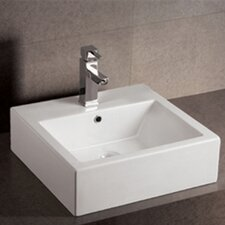 <strong>Whitehaus Collection</strong> Isabella Square Bathroom Sink with Overflow and Rear Center Drain