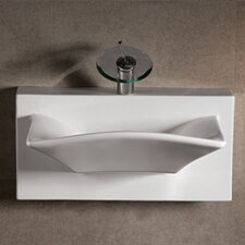 <strong>Whitehaus Collection</strong> Isabella Bathroom Sink with Rectangular bowl and Integral Rear Center Drain