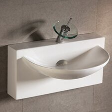 <strong>Whitehaus Collection</strong> Isabella Bathroom Sink with U-shaped bowl and Integral Rear Center Drain