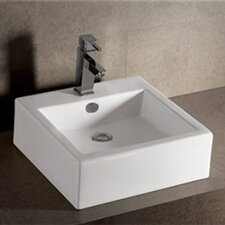Isabella W Square Bathroom Sink with Overflow and Rear Center Drain