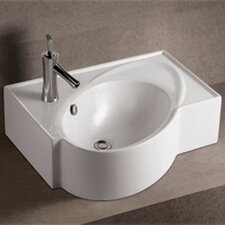 <strong>Whitehaus Collection</strong> Isabella Above Mount Bathroom Sink with Overflow and Rear Center Drain