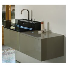 "Aeri 43"" Vetro Wall Mount Unit with Double Drawers and A Counter Vanity Top"