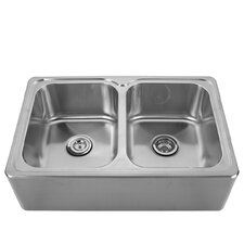 "<strong>Whitehaus Collection</strong> Noah's 33"" x 22"" Front - Apron Double Bowl Drop In Kitchen Sink"