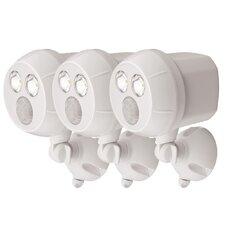Weatherproof Wireless Battery Powered LED Ultra Bright 300 Lumen Spotlight with Motion Sensor (Set of 3)