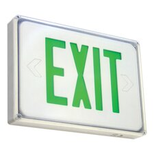 Low Profile Wet Location Exit Sign in Green Letter