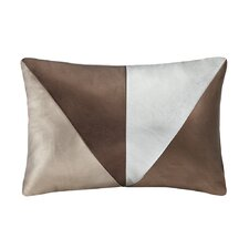 Pieced Metallic Faux Leather Oblong Pillow