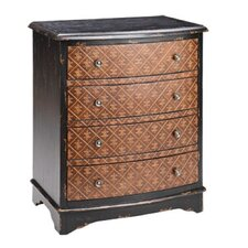 Fleur De Lis Embossed 4 Drawer Chest