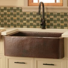 "33"" x 22"" Farmhouse Hand Hammered Kitchen Sink"