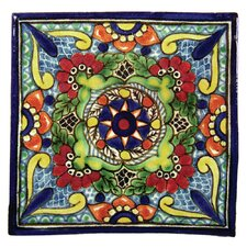 Geraniums Hand Painted Talavera Tile