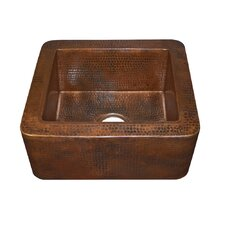 "18"" x 16"" Cabana Hand Hammered Apron Front Bar Sink"