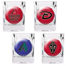 MLB Square Shot Glass 4 Piece Set (Individual Logos)