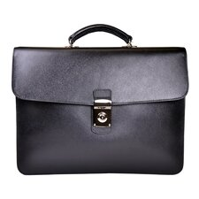 Saffiano Genuine Leather Single Gusset Briefcase