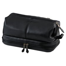 <strong>Royce Leather</strong> Toiletry Bag with Zippered Bottom Compartment