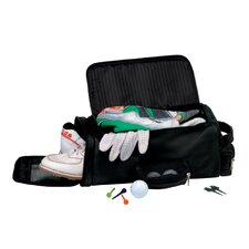 Man-Made Leather Golf Shoe and Accessory Bag in Black