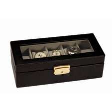 Royce Leather Men's 5 Slot Watch Box Display Case in Genuine Leather