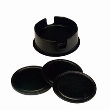 Leather Coasters in Leather Holder in Black (6 in set)