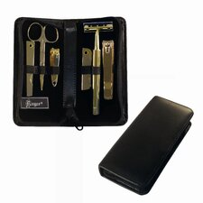 Gold Plated Genuine Leather Manicure Travel Groom Kit