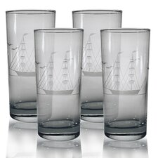 Hi-Ball Glass 15 oz. Hand Cut Clipper Ship Pattern (Set of 4)