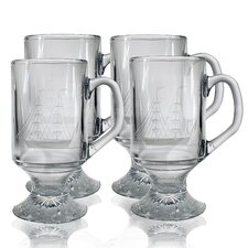 <strong>Susquehanna Glass</strong> Footed Mug 10 oz. Hand Cut Clipper Ship Pattern (Set of 4)