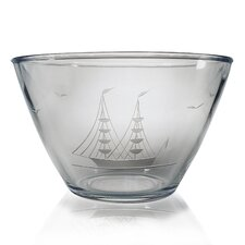 Hand Cut Clipper Ship Pattern Serving Bowl