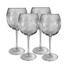 <strong>Susquehanna Glass</strong> Ballon Red Wine Glass 16 oz. Hand Cut Sonoma Pattern (Set of 4)