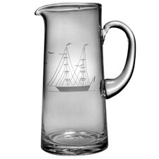 Individual Tankard Pitcher 60 oz. Hand Cut Clipper Ship Pattern