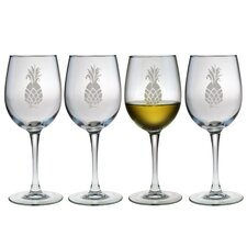 White Wine Glass 12 oz. Hand Cut Pineapple Pattern (Set of 4)