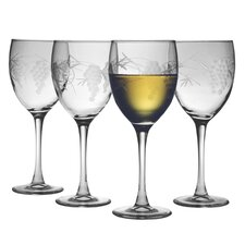 White Wine Glass 10.5 oz. Hand Cut Sonoma Pattern (Set of 4)
