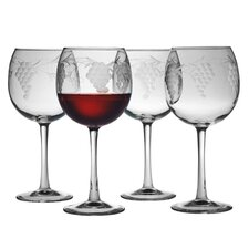 Ballon Red Wine Glass 16 oz. Hand Cut Sonoma Pattern (Set of 4)