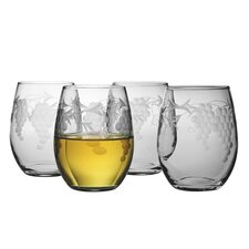 Stemless Wine Glass 15 oz. Hand Cut Sonoma Pattern (Set of 4)