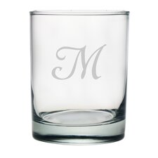 Script Monogrammed Double Rock Glass (Set of 4)