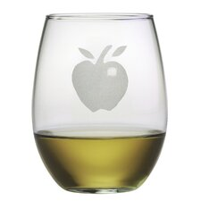 Apple Stemless Wine Glass (Set of 4)