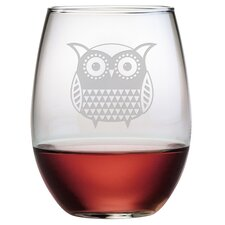 Folk Art Owl Stemless Wine Glass (Set of 4)