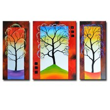 Radiance Boronia 3 Piece Original Painting on Canvas Set (Set of 3)