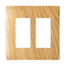 "4.91"" Two Gang Decorator Screwless Wall Plate in Metal maple"