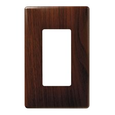 "3.1"" Single Gang Decorator Screwless Wall Plate in Metal walnut"