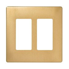 Two Gang Decorator Screwless Wall Plate in Brushed brass