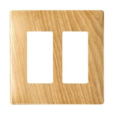 Two Gang Decorator Screwless Wall Plate in Metal maple