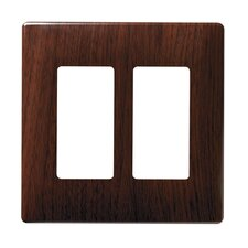 Two Gang Decorator Screwless Wall Plate in Metal walnut