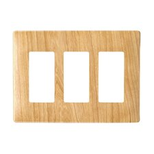 Three Gang Decorator Screwless Wall Plate in Metal maple